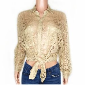 DKNY Vintage Tan Lace Sheer Button Up Blouse
